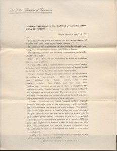 1906 Sitka Chamber of Commerce Letter