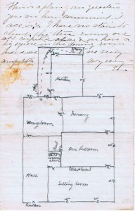 Diagram of Fitzgerald home in Sitka as drawn by Emily McCorkle Fitzgerald, Fall 1874