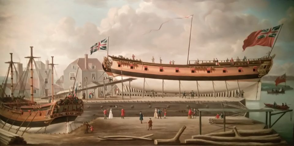 A sixth-rate on the stocks, John Cleveley, the Elder, 1758, oil on canvas, National Maritime Museum, Greenwich, London Until the end of the 19th century, London was a major shipbuilding center. Here a small ship is under construction in one of the many private yards at Rothernithe.